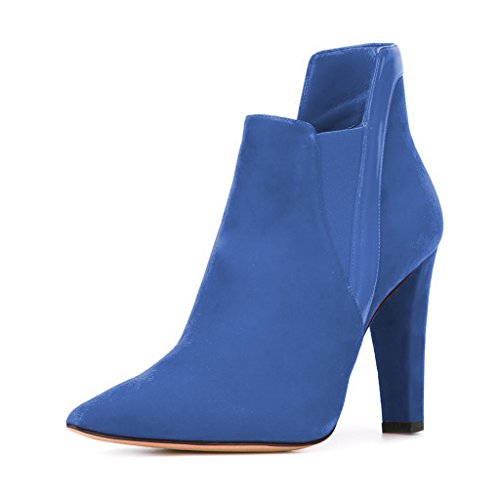 FSJ-Women-Fashion-Chunky-High-Heels-Pointed-Toe-Ankle-Booties-Elegant-Comfortable-Slip-On-Suede-Office-Party-Club-Shoes-Size-13-Blue-0