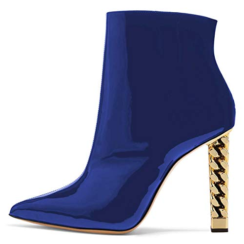 FSJ-Women-Trendy-Pointed-Toe-Ankle-Boots-Block-Chunky-High-Heel-Booties-Party-Prom-Shoes-Zips-9-Blue-0