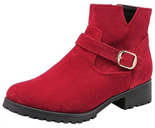 Mofri-Womens-Casual-Faux-Suede-Buckle-Belt-Side-Zipper-Ankle-Booties-Round-Toe-Low-Block-Heel-Short-Boots-Red-11-BM-US-0