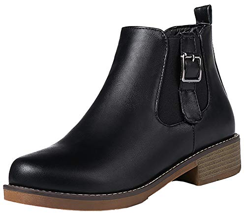 Mofri-Womens-Comfortable-Buckle-Elastic-Zipper-Round-Toe-Ankle-High-Block-Low-Heel-Short-Boots-Black-10-M-US-0