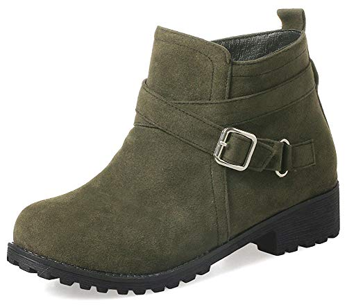 Mofri-Womens-Comfy-Buckle-Strap-Ankle-Booties-Round-Toe-Side-Zipper-Low-Heel-Short-Boots-Green-5-M-US-0