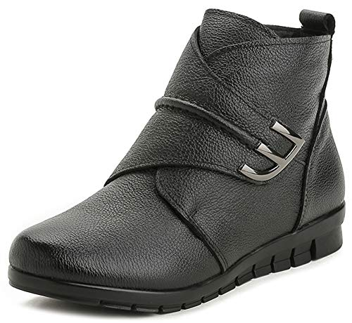 Mofri-Womens-Comfy-Round-Toe-Walking-Short-Boots-Low-Wedge-Heel-Hook-and-Loop-Leather-Ankle-Booties-Black-8-M-US-0