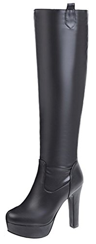 Mofri-Womens-Elegant-Round-Toe-High-Chunky-Heel-Platform-Pull-on-Knee-High-Riding-Boots-Black-12-BM-US-0