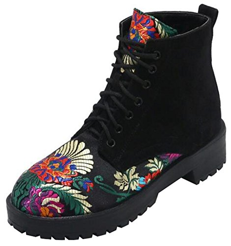Mofri-Womens-Trendy-Embroidered-Block-Low-Heel-Platform-Short-Martin-Boots-Round-Toe-Faux-Suede-Lace-up-Ankle-Booties-Black-10-BM-US-0
