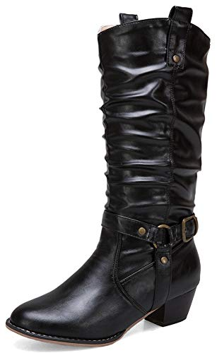 Mofri-Womens-Unique-Buckle-Strap-Round-Toe-Low-Chunky-Heel-Pull-on-Slouchy-Mid-Calf-Cowgirl-Boots-Black-14-M-US-0