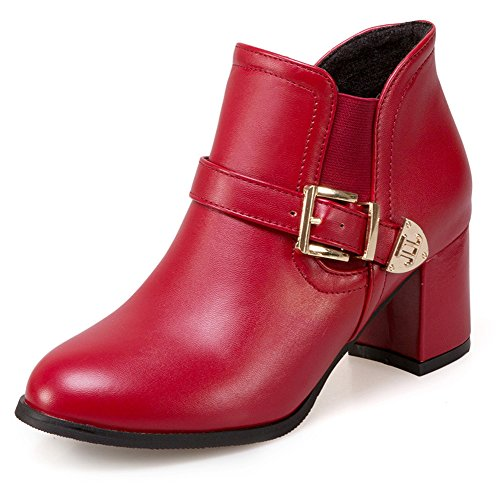 SHOWHOW-Womens-Elastic-Buckled-Round-Toe-Chunky-Mid-Heels-Boots-Red-13-BM-US-0