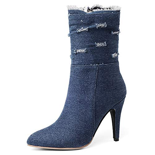 SNIDEL-Ankle-Boots-for-Women-High-Heels-Denim-Pump-Shoes-Mid-Calf-Side-Zip-Botas-Fall-Winter-Boots-Dark-Blue-9-B-M-US-0