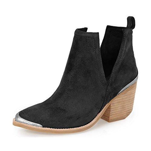 YDN-Women-Ankle-Booties-Low-Heel-Faux-Suede-Stacked-Boots-Cut-Out-Shoes-with-Metal-Toe-Black-7-0