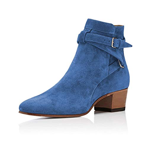YDN-Women-Block-Low-Heel-Suede-Cowgirl-Boots-Pull-on-Ankle-Bootie-with-Buckle-Blue-10-0
