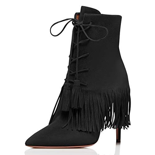 YDN-Women-Bohemian-Fringed-Stiletto-High-Heels-Ankle-Boots-Pointed-Toe-Lace-Up-Booties-with-Tassels-Black-4-0