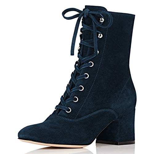 YDN-Women-Casual-Lace-up-Ankle-Boots-Poinetd-Toe-Low-Block-Heel-Shoes-Side-Zipper-Trip-Office-Navy-Size-12-0
