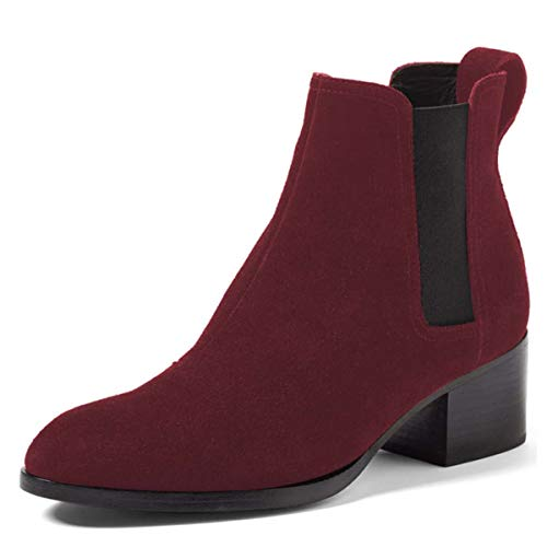 YDN-Women-Chic-Low-Block-Heel-Ankle-Boots-Pointed-Toe-Elastic-Slip-On-Suede-Easy-Daily-Walking-Dress-Shoes-Dark-Red-5-0