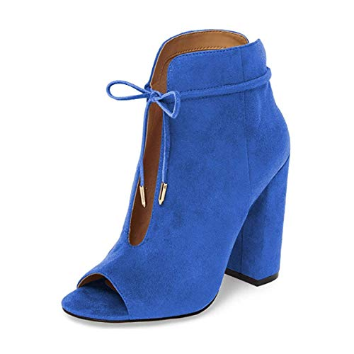 YDN-Women-Chic-Peep-Toe-Chunky-High-Heel-Lace-Up-Bowknot-Cutout-Ankle-Booties-Boots-Blue-6-0