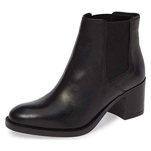 YDN-Women-Classic-Round-Toe-Mid-Block-Heel-Chelsea-Boots-Elastic-Pull-On-Ankle-Booties-Black-15-0