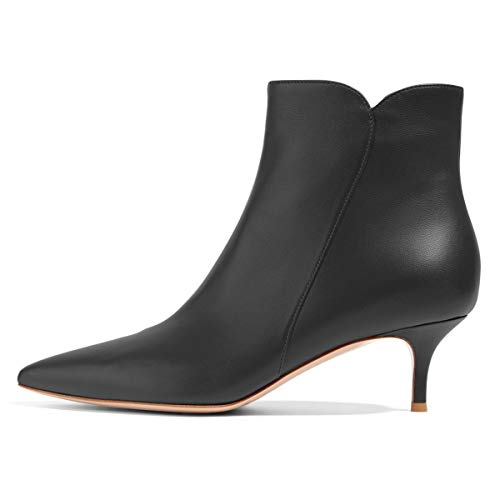 YDN-Women-Dressy-Kitten-Low-Heel-Ankle-Boots-Pointed-Toe-Booties-Shoes-with-Zips-Black-6cm-9-0