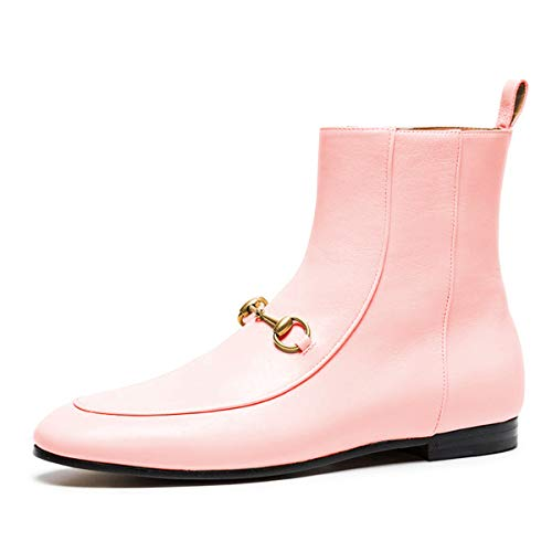 YDN-Women-Dressy-Low-Heel-Booties-Round-Toe-Boots-Flats-Soft-Zipper-Shoes-Pink-12-0