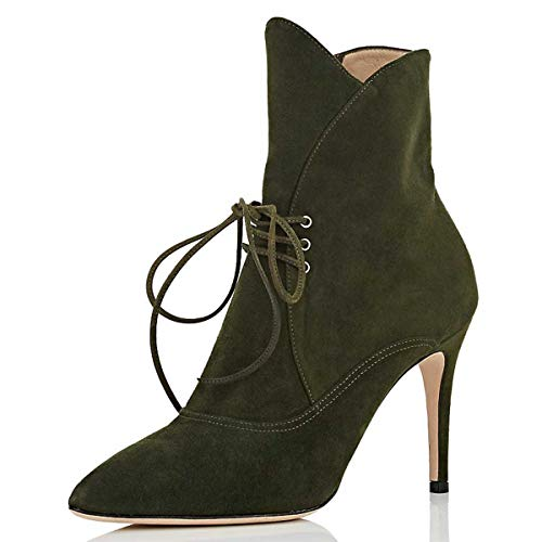 YDN-Women-Fashion-Lace-Up-Ankle-Boots-Pointed-Toe-High-Heels-Stiletto-Zipper-Booties-Shoes-Size-11-Olive-0