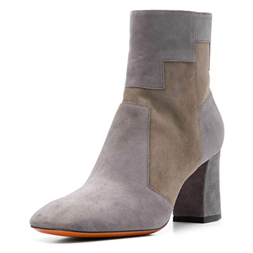 YDN-Women-Fashion-Pointed-Toe-Ankle-Boots-Chunky-High-Heel-Booties-Shoes-with-Zips-Grey-14-0