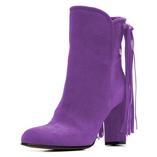 YDN-Women-Fringes-Chunky-High-Heel-Ankle-Boots-Round-Toe-Booties-Winter-Dress-Shoes-Purple-4-M-US-0