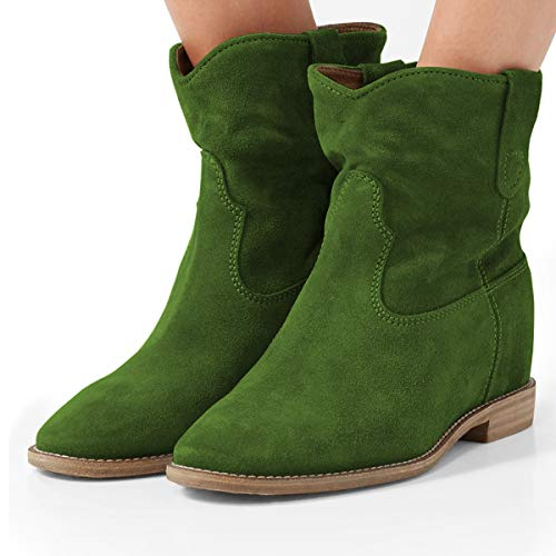 YDN-Women-Low-Heel-Ankle-Boots-Round-Toe-Boots-Pull-on-Stacked-Dress-Shoes-Olive-13-0