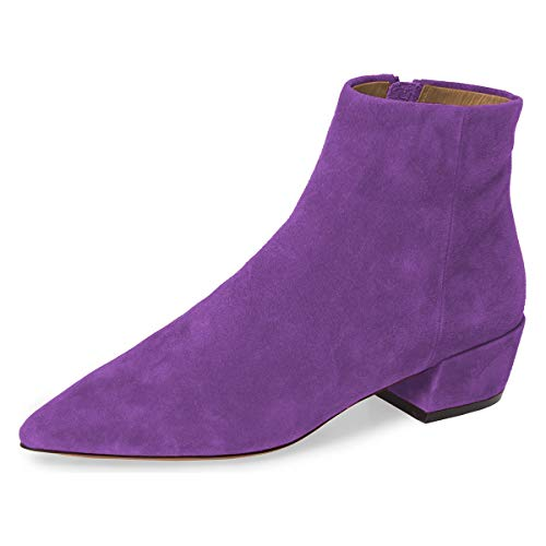 YDN-Women-Pointed-Toe-Block-Low-Heels-Comfy-Ankle-Boots-Winter-Booties-Walking-Shoes-Purple-4-0