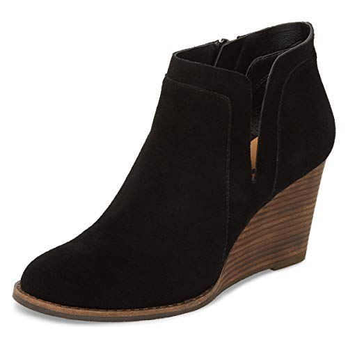 YDN-Women-Pointed-Toe-High-Heel-Wedge-Boots-Pull-On-Booties-Shoes-with-Side-Zips-Black-13-0