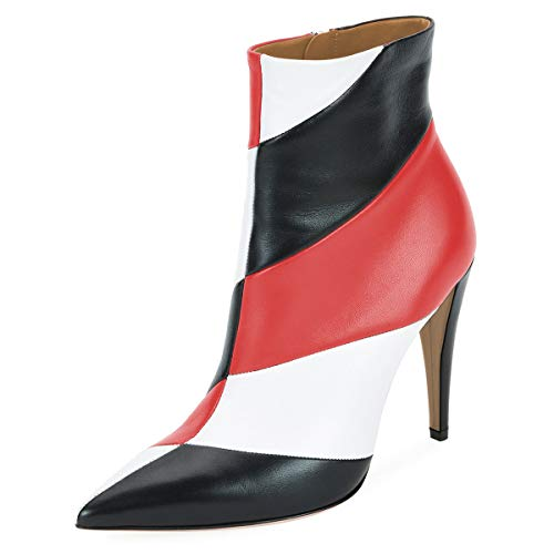 YDN-Women-Pointed-Toe-Stiletto-High-Heel-Ankle-Boots-Multicolor-Stripes-Patchwork-Winter-Dress-Booties-Black-Red-4-0