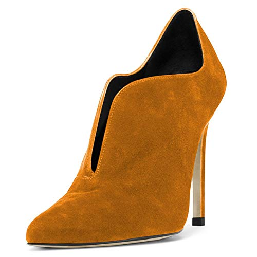 YDN-Women-Pointed-Toe-Stiletto-High-Heel-Wavy-Edge-Slip-On-Dress-Pumps-Ankle-Boots-Booties-Ginger-9-0