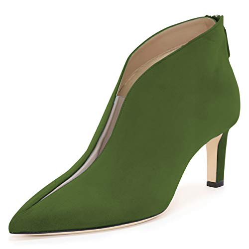 YDN-Women-Pointed-Toe-V-Cut-Ankle-Booties-Mid-Heel-Faux-Suede-PVC-Zippers-Prom-Party-Dress-Short-Boots-Green-4-0
