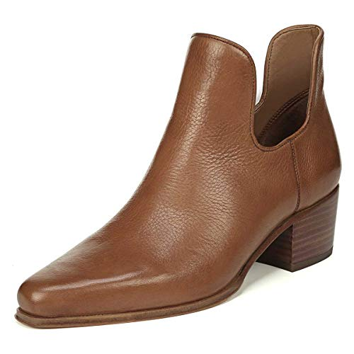 YDN-Women-Retro-Square-Toe-Stacked-Low-Heel-Ankle-Boots-Pull-on-Booties-Office-Shoes-Brown-15-0
