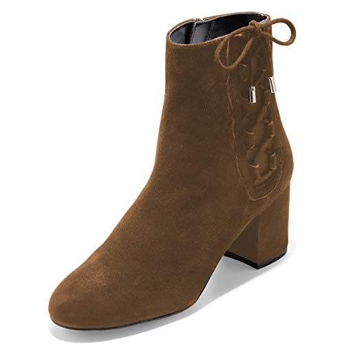 YDN-Women-Round-Toe-Block-Ankle-Boots-Low-Heel-Booties-Faux-Suede-Side-Zips-Shoes-Brown-10-0