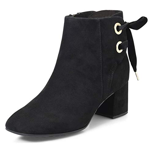 YDN-Women-Round-Toe-Chunky-Mid-Block-Heel-Lace-Up-Ankle-Boots-Suede-Winter-Booties-Black-85-0