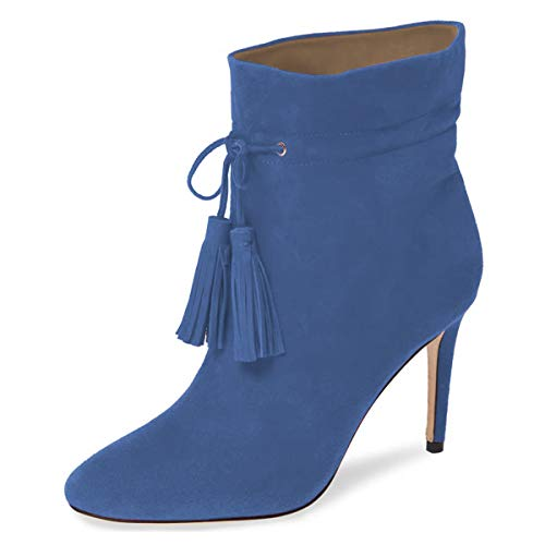 YDN-Women-Round-Toe-Stiletto-High-Heel-Tassels-Ankle-Boots-Lace-Up-Suede-Winter-Dress-Booties-Blue-15-0
