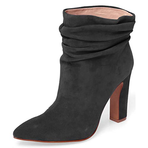 YDN-Women-Slouch-Ankle-Boots-Pointed-Toe-Chunky-High-Heel-Pull-on-Booties-Winter-Shoes-Black-14-0