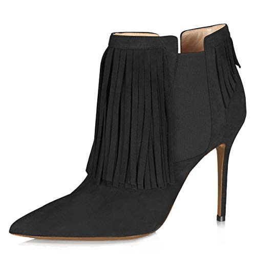 YDN-Women-Stiletto-High-Heel-Tassels-Ankle-Boots-Pointed-Toe-Elastic-Pull-On-Suede-Dress-Bootie-Black-7-0
