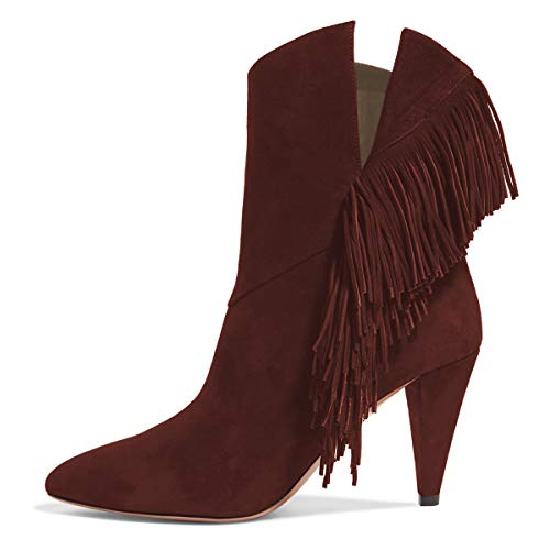 YDN-Women-Tassles-Fringe-Ankle-Boots-Pointed-Toe-High-Cone-Heel-Pull-On-Cutout-Evening-Party-Dress-Shoes-Dark-Red-85-0
