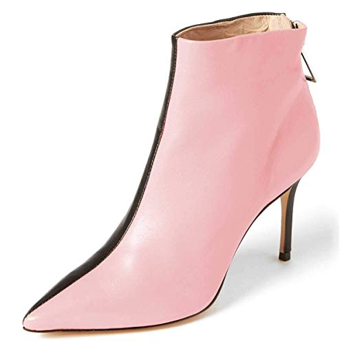 YDN-Women-Two-Color-Pointed-Toe-Stiletto-High-Heel-Ankle-Boots-Dress-Booties-Shoes-Pink-85-0