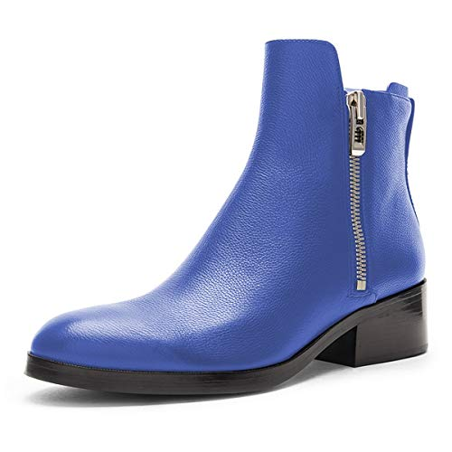 YDN-Women-Western-Low-Heel-Combat-Ankle-Boots-Round-Toe-Booties-Shoes-with-Side-Zips-Blue-7-0