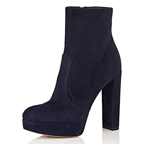 YDN-Womens-Round-Toe-Faux-Suede-Ankle-Bootie-Comfortable-Chunky-High-Heel-Platform-Zippers-Shoes-Navy-14-0