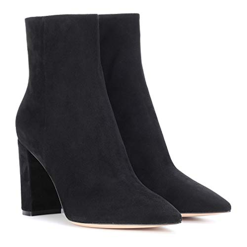 FOWT-Women-Chunky-Block-Heel-Ankle-Boots-Pointed-Toe-High-Heels-Short-Booties-Side-Zip-Up-Synthetic-Suede-Shoes-for-Ladies-Girls-Dress-Jeans-Party-Black-15-M-US-0