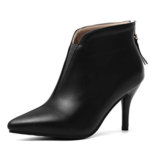 Nafanio-Womens-Pointed-Toe-Ankle-Boots-Winter-Back-Zipper-Stiletto-High-Heel-Office-Dress-Short-Booties-Black-US-15-0