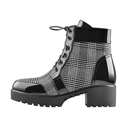 Onlymaker-Ankle-Boots-for-Women-Platform-Chunky-Booties-Round-Toe-Lace-Up-Zipper-Boots-Black-Size-10-0