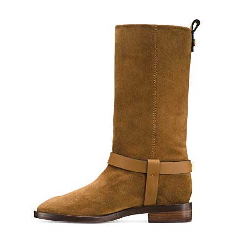Onlymaker-Mid-Calf-Crossover-Strap-Riding-Boots-for-Women-Low-Heel-Horseback-Boot-Motorcycle-Bootie-Brown-9-US-0