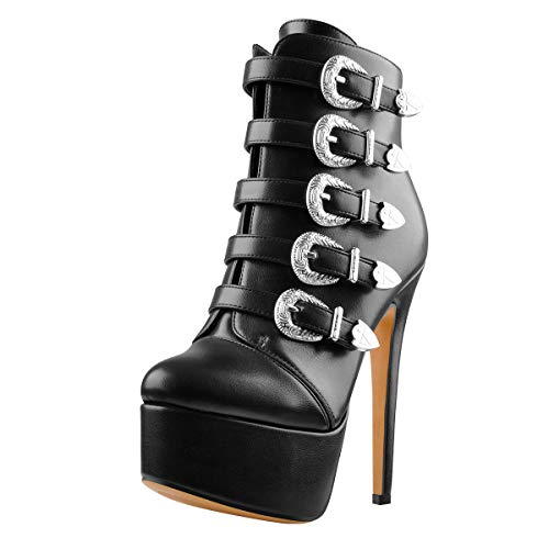 Onlymaker-Platform-Boots-for-Women-Buckle-Ankle-Boots-with-Heel-Round-Toe-Black-Zipper-Booties-Size-9-0