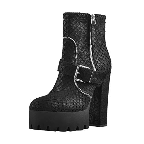 Onlymaker-Platform-Sole-Boots-Ankle-High-for-Womens-Side-Zip-Round-Toe-Stack-High-Heel-Club-Date-Bootie-Black-Size-7-0