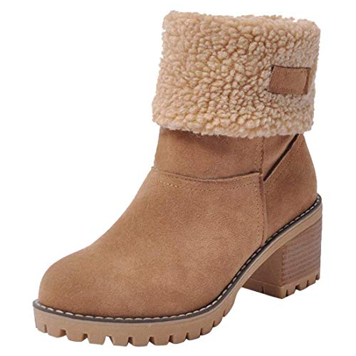 Susanny-Womens-Ankle-Snow-Boots-Winter-Warm-Fur-Booties-Chunky-Mid-Heels-Cute-Shoes-Camel-95-B-M-US-0