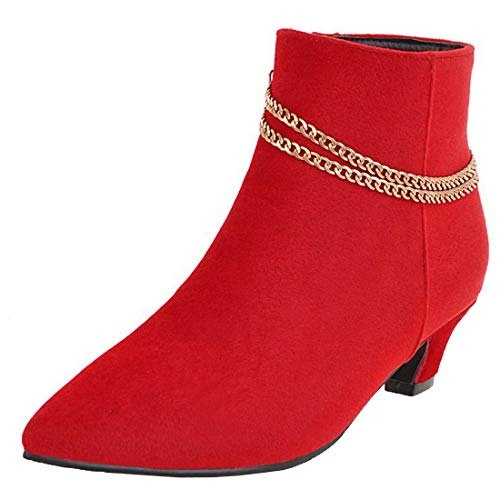 Vitalo-Womens-Low-Kitten-Heel-Boots-Pointed-Toe-Zip-Up-Ankle-Booties-Size-9-BM-USRed-0