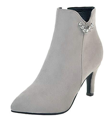 Vitalo-Womens-Zip-Up-Kitten-Heel-Ankle-Boots-Faux-Suede-Pointed-Toe-Booties-Size-15-BM-USGrey-0
