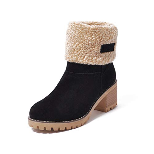 Womens-Ankle-Booties-Warm-Winter-Snow-Bootie-Round-Toe-Chunky-mid-Heel-Fur-Short-Boots-0