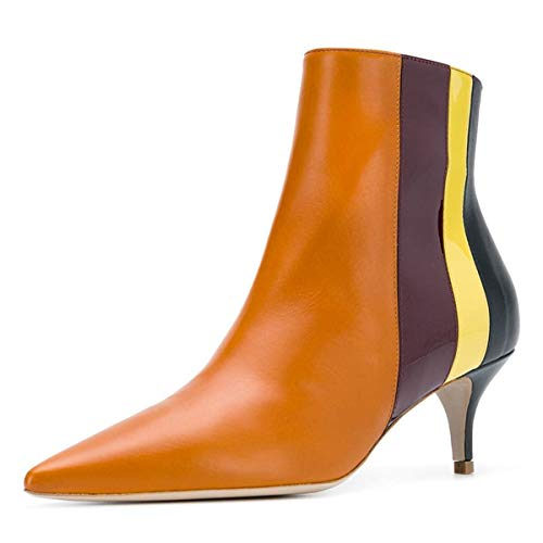YDN-Women-Chic-Pointed-Toe-Booties-Kitten-Low-Heel-Ankle-Boots-Patchwork-Shoes-Orange-6-0